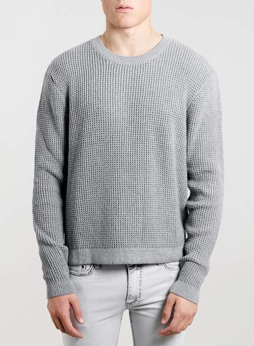 Grey Textured Crop Sweater by Topman in Brick Mansions