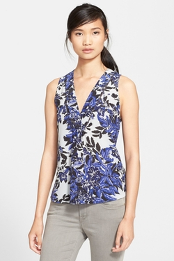 'Flame' Sleeveless V-Neck Top by Rebecca Taylor in Arrow