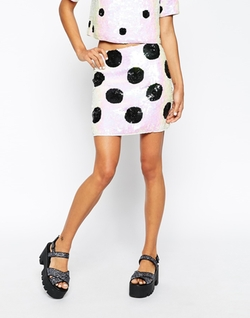 Embellished Spots Mini Skirt by Asos Collection in Scream Queens