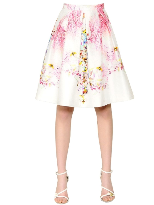Floral Printed Viscose Shantung Skirt by Piccione.Piccione in The Second Best Exotic Marigold Hotel