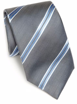 Wide Stripe Silk Tie by Saks Fifth Avenue Collection in Mike and Dave Need Wedding Dates