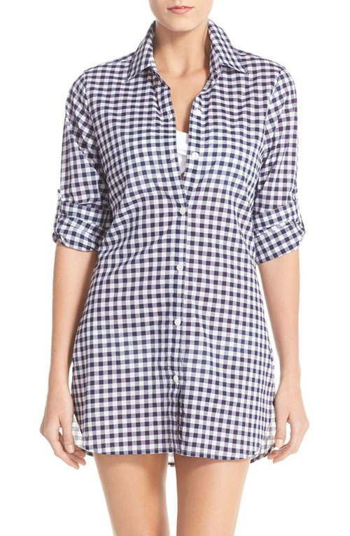 Gingham Cover-Up Boyfriend Shirt by Tommy Bahama in Chelsea - Season 1 Episode 2