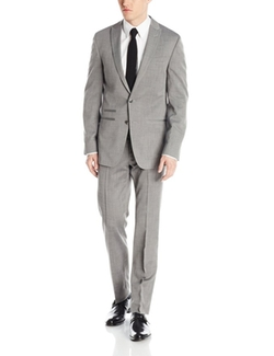 Fraser Sharkskin Two Button Side Vent Suit With Flat Front Pants by Andrew Fezza in Elementary