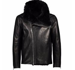 Leather Shearling Biker Jacket by Miguel Antoinne in Power