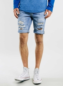 Bleach Ripped Skinny Denim Shorts by Topman in Wet Hot American Summer
