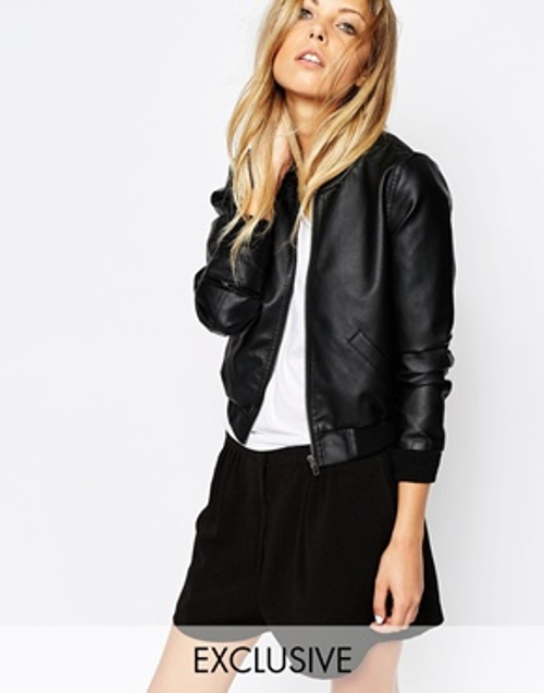 Faux Leather Bomber Jacket by Noisy May in Boyhood