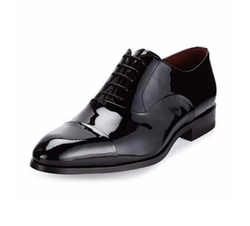 Cap-Toe Patent Leather Oxford Shoes by Magnanni for Neiman Marcus in Quantico
