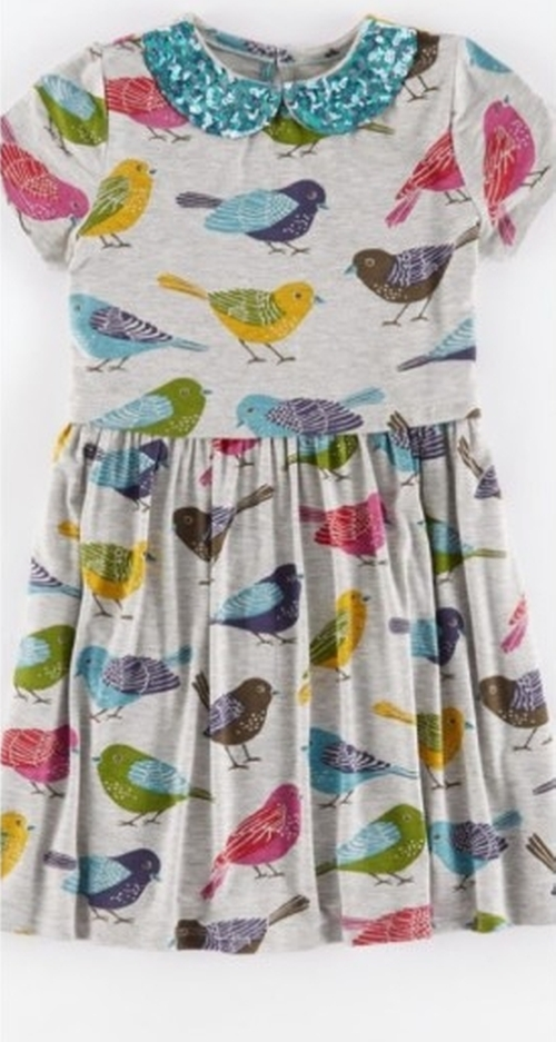 Bird Print Sequin Collar Dress by Mini Boden in Modern Family
