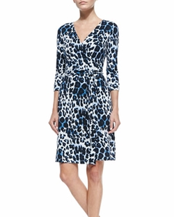 New Julian Two Snow Leopard-Print Wrap Dress by Diane von Furstenberg in The Fate of the Furious
