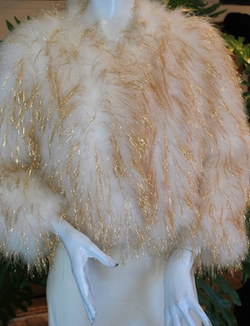 Tinsel Razzle Dazzle Feather Cropped Jacket by Antique & Vintage Clothing in Scream Queens