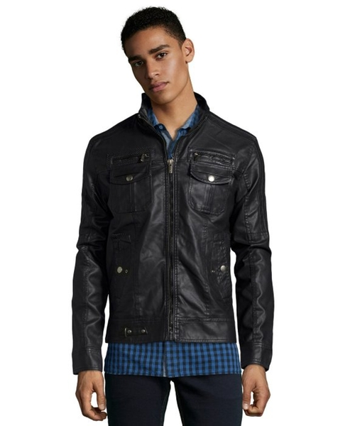 Black Faux Leather Zip Front Jacket by X-Ray Jeans in The Walk