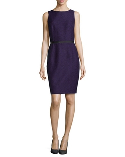 Sleeveless Twill Jacquard Sheath Dress by Michael Kors in Scandal