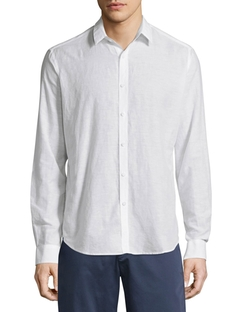 Zack Linen-Blend Long-Sleeve Shirt by Theory in Jane the Virgin