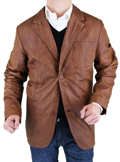 Two Button Leather Blazer Jacket by Luciano Natazzi in The Best of Me