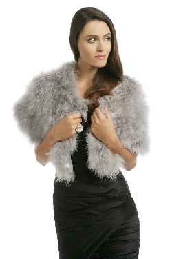 Grey Marabou Capelet by Adrienne Landau in The Great Gatsby