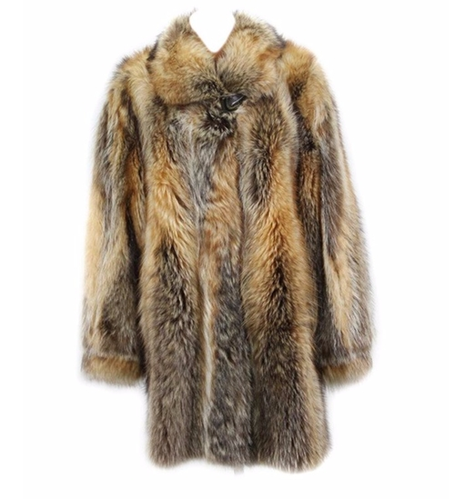 Whiskey Dyed Raccoon Fur Stroller Coat by Bergama in Keeping Up With The Kardashians - Season 12 Episode 2