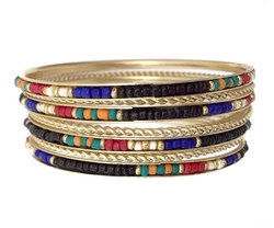 Multi Color Seed Bead Gold Tone Bangle Bracelet Set by Gypsy Jewels in Sisters