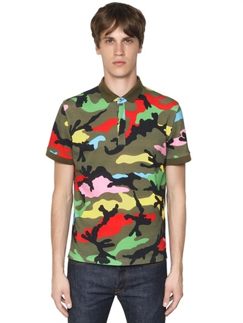 Camo Printed Cotton Piqué Polo Shirt by Valentino in Ballers