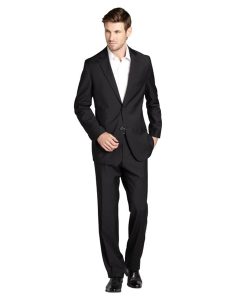 Black Wool Two-Button 'The Grand / Central US' Suit With Flat Front Pants by HUGO BOSS in Jersey Boys
