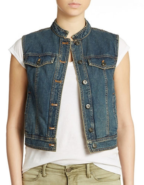Lace Back Denim Vest by Free People in Me and Earl and the Dying Girl