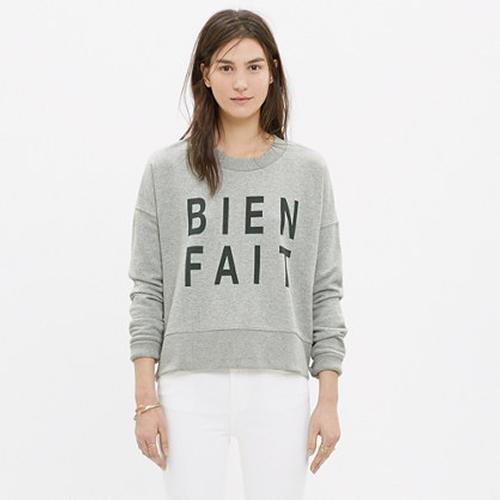 Bien Fait Side-Zip Sweatshirt by Madewell in Scream Queens - Season 1 Episode 2