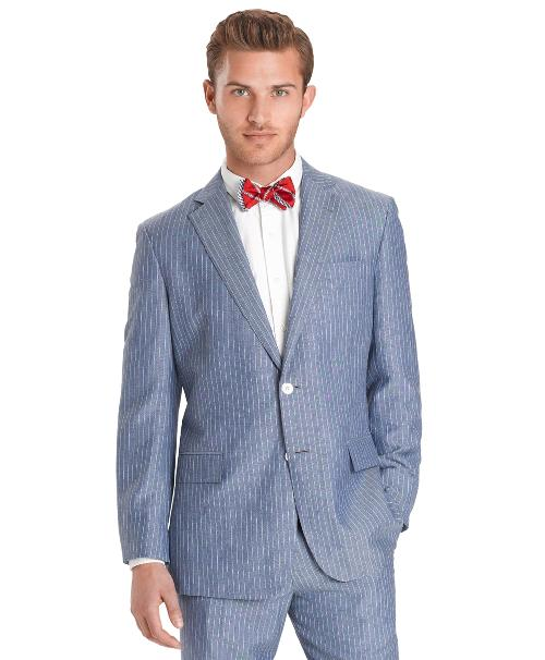 Regent Fit Two-Button Linen Stripe Suit by Brooks Brothers in The Great Gatsby