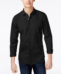 Solid Stretch Slim Fit Shirt by Armani Exchange in Hands of Stone