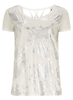 Foil Print Strappy Tee by Ivory in Focus