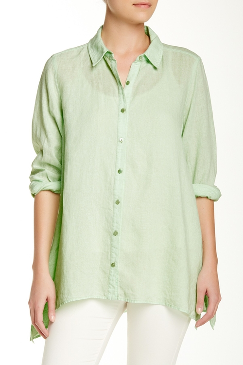 Classic Collar Boxy Linen Shirt by Eileen Fisher in Spotlight