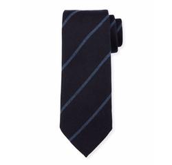Woven Striped Silk Tie by Ermenegildo Zegna in Suits