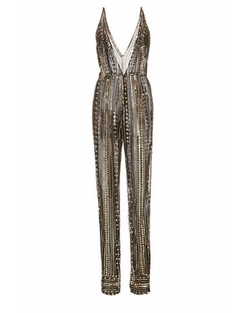 Metallic Beaded V-Front Jumpsuit by Naeem Khan in Empire