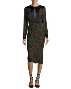 Drifter Long-Sleeve Silk Animal-Print Midi Dress by Veronica Beard in The Good Wife