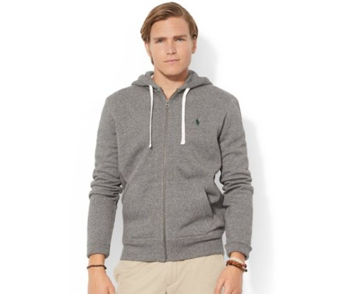 Classic Fleece Full-Zip Hoodie by Polo Ralph Lauren in Fifty Shades of Grey