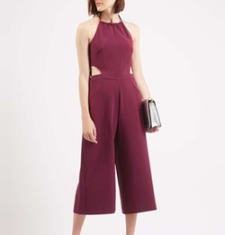 Halterneck Culotte Jumpsuit by Topshop in Empire