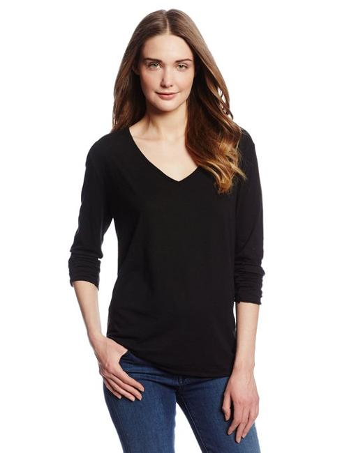 Luxe Slub Long Sleeve V Neck Tee by Michael Stars in Limitless