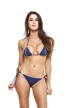 Crochet Stitching Triangle Top Bikini by Guria Beachwear in The Bachelorette