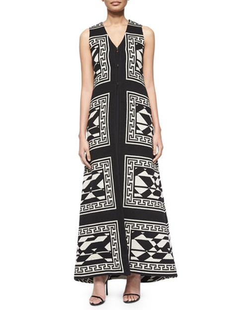 Angelica Geometric-Print Long Vest by Alice + Olivia in Black-ish - Season 2 Episode 10