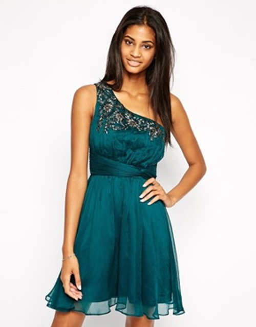 One Shoulder Embellished Dress by Little Mistress in The Loft