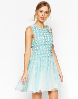 Salon 3D Floral Strip Skater Dress by ASOS Collection in Scream Queens