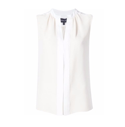 Pleated Placket Sleeveless Blouse by Derek Lam in Notorious