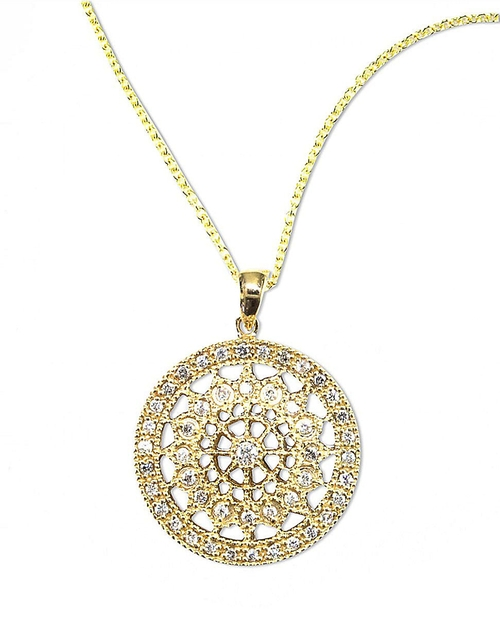Pave Medallion Pendant Necklace by Effy D Oro in The Women