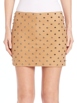 Elana Studded Suede Mini Skirt by Alicia and Olivia in Mistresses