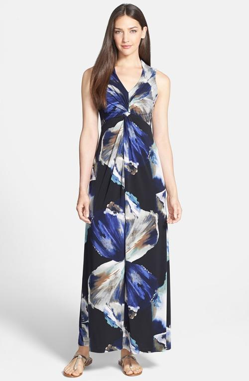 Print Twisted Jersey Maxi Dress by Donna Ricco in Vampire Academy