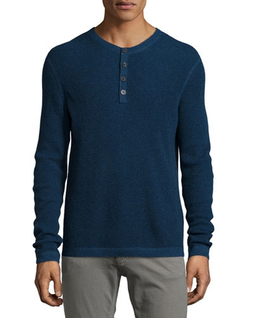Waffle-Knit Long-Sleeve Henley Shirt by Neiman Marcus	 in Quantico