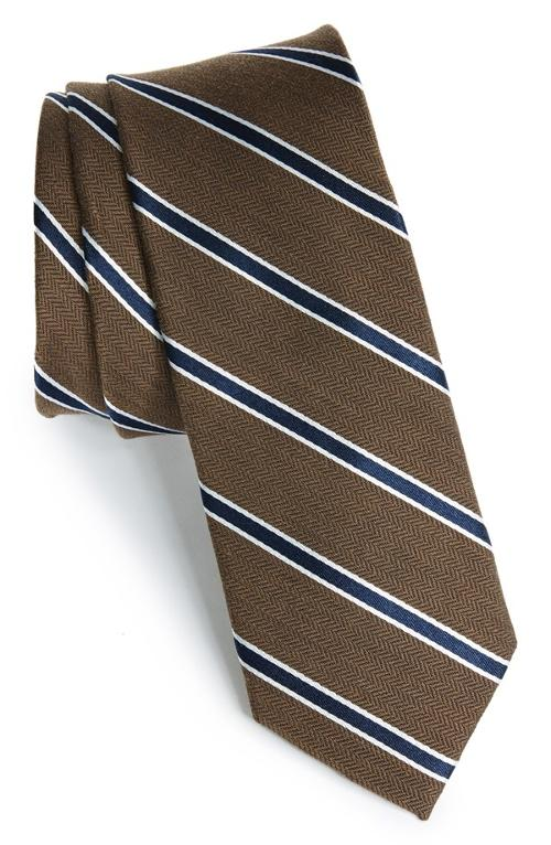 'Smoak' Stripe Woven Silk & Cotton Tie by 1901 in Neighbors