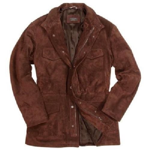Men's Brown Four Pocket Italian Suede Leather Jacket by FORZIERI in Transcendence