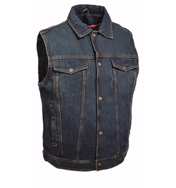 Snap Front Denim Vest by Milwaukee Leather in Animal Kingdom