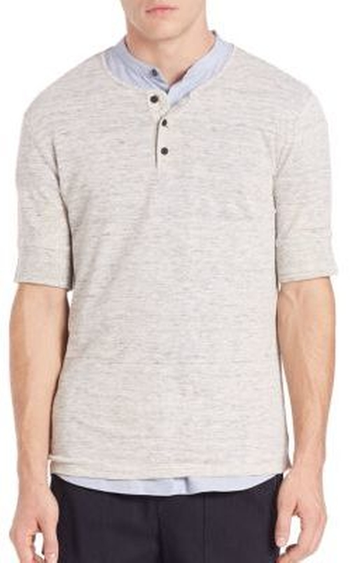 Linen Jersey Short-Sleeve Henley by Vince in Doctor Strange