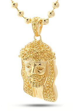 Gold CZ Micro Jesus Necklace by King Ice in Taken 3