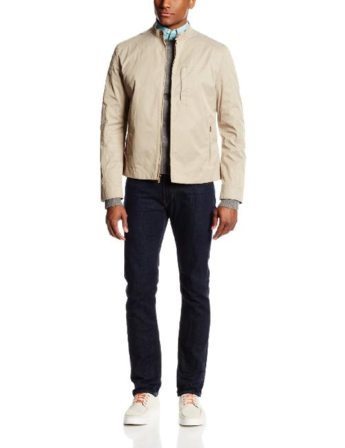 Men's Coated Cotton Moto Jacket by Cole Haan in Transcendence
